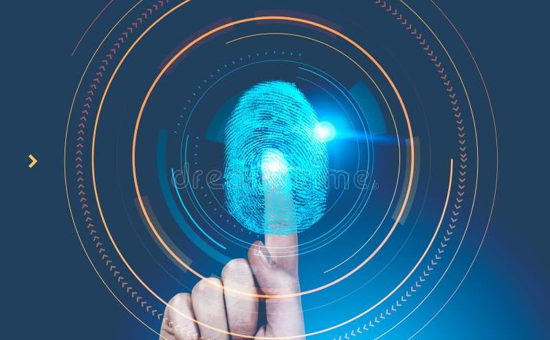 Interfaz del dactylogram de la mano del hombre, hud azul fotografía de archivo libre de regalías