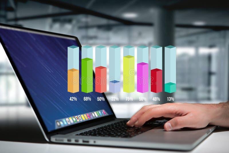 Interfaz del gráfico del palillo de la encuesta sobre Colorfull con porcentaje sobre un de fotos de archivo libres de regalías