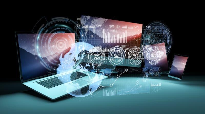 Interfaz del holograma delante de la representación moderna de los dispositivos 3D libre illustration