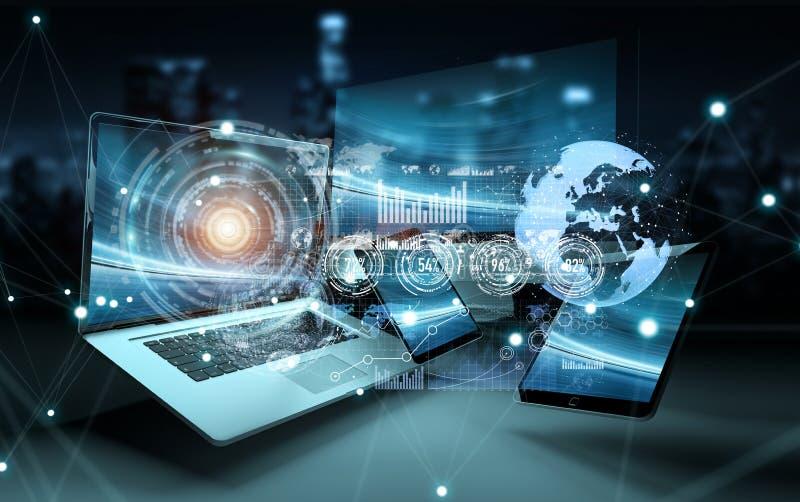 Interfaz del holograma delante de la representación moderna de los dispositivos 3D ilustración del vector