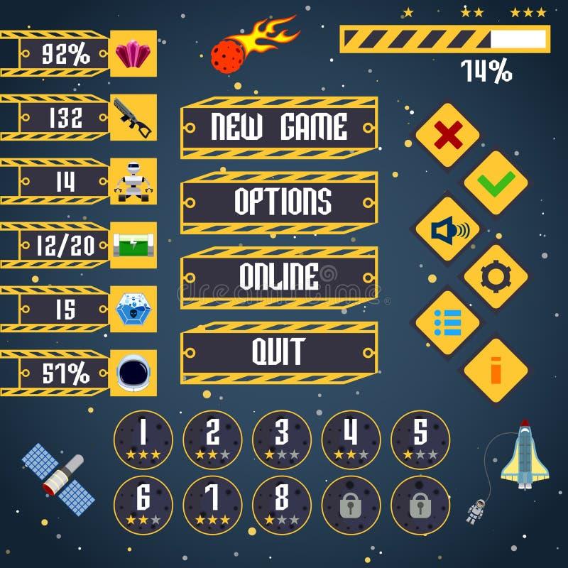 Interfaz del juego del espacio ilustración del vector