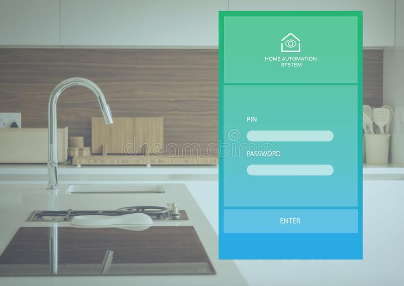 Interfaz del sistema App de la automatización casera ilustración del vector