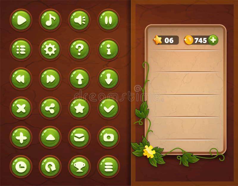 Interfaz determinado de los botones del juego UI stock de ilustración