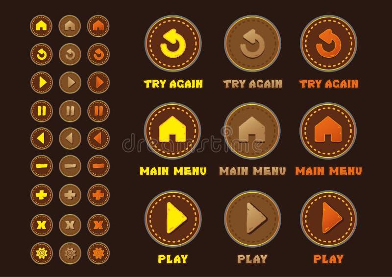 Interfaz determinado de los botones del juego UI fotografía de archivo libre de regalías