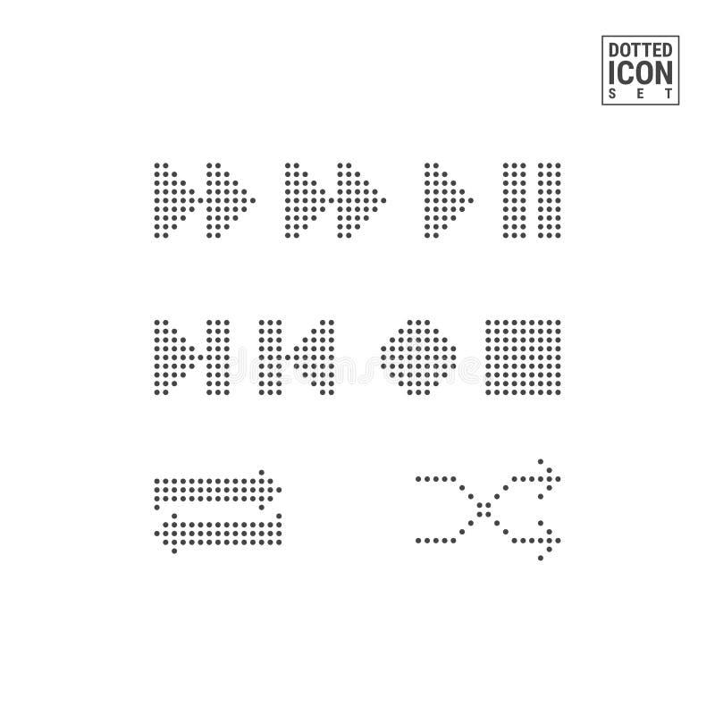 Interfaz Dot Pattern Buttons del jugador Juego, iconos punteados pausa aislados en el fondo blanco Icono del vector de Media Play ilustración del vector