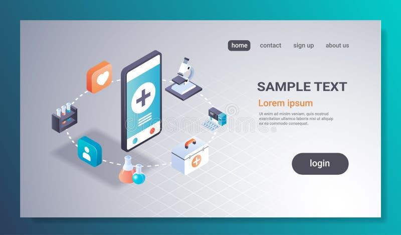 Interfaz en línea del app de las pruebas de la medicina de la pantalla del smartphone del concepto del laboratorio médico de la a ilustración del vector