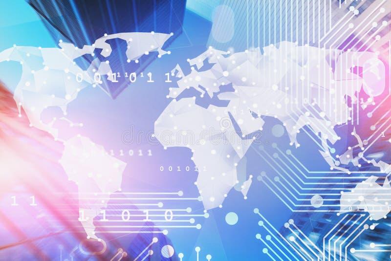 Interfaz en línea y concepto de la red global ilustración del vector