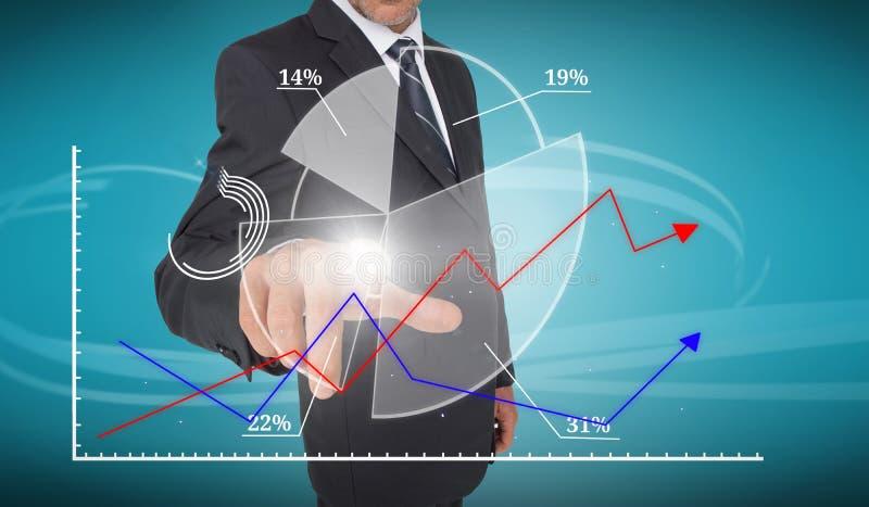 Interfaz futurista conmovedor del gráfico de sectores del hombre de negocios ilustración del vector