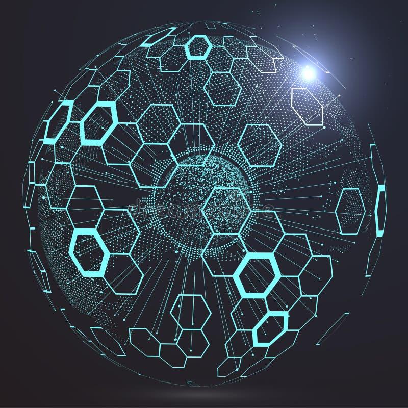Interfaz futurista de la globalización ilustración del vector