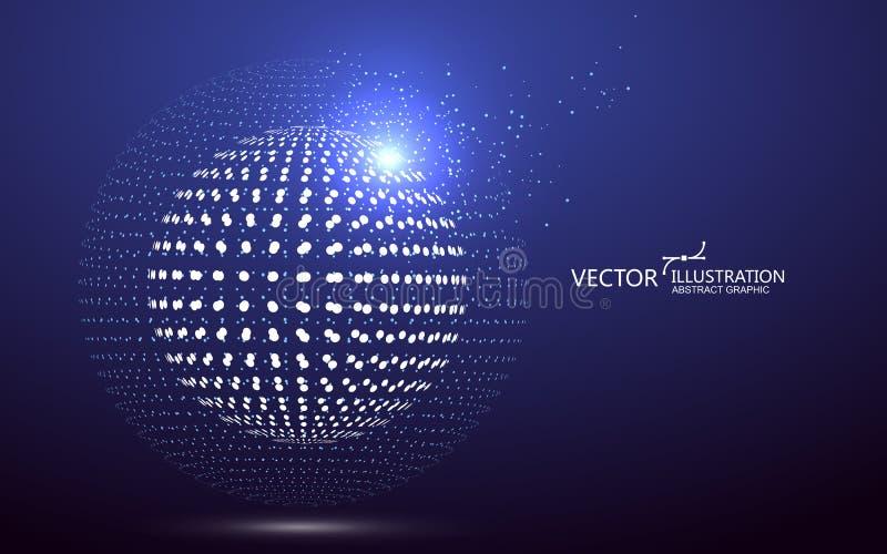 Interfaz futurista de la globalización, un sentido de la ciencia y gráficos abstractos de la tecnología stock de ilustración