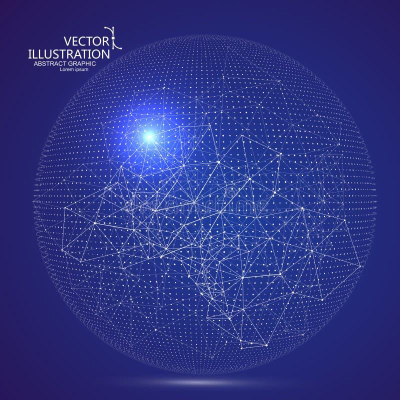 Interfaz futurista de la globalización, un sentido de la ciencia y gráficos abstractos de la tecnología ilustración del vector