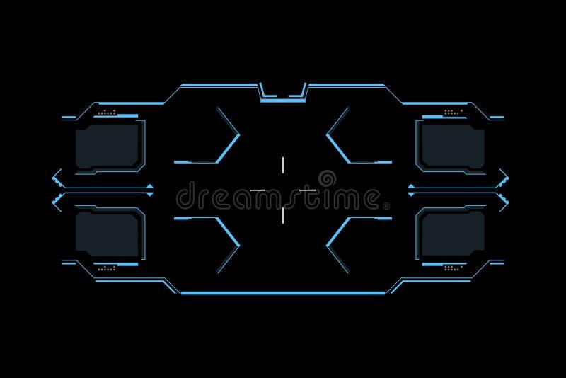 Interfaz futurista de Sci fi Interfaz de usuario de HUD Pantalla de alta tecnología de la interfaz de usuario del juego del diseñ ilustración del vector