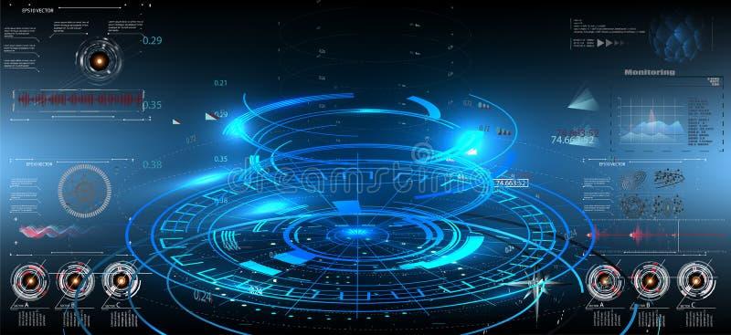 Interfaz futurista del hud del concepto del ui abstracto de la tecnología stock de ilustración