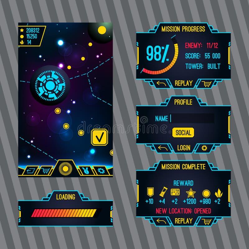 Interfaz futurista del juego del espacio con la pantalla