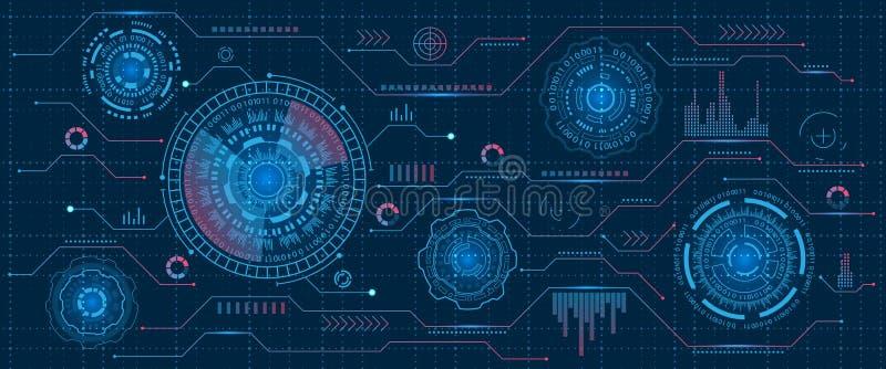 Interfaz futurista Hud Design, elementos de Infographic, tecnología y ciencia, tema del análisis, plantilla UI para el App y virt ilustración del vector