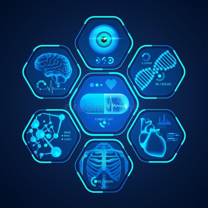 Interfaz médico azul stock de ilustración