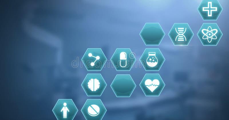 interfaz médico del hexágono stock de ilustración