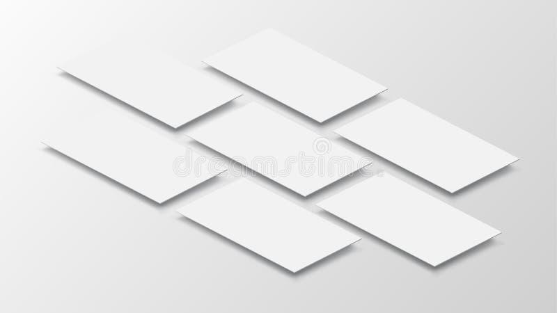 interfaz móvil del app de la maqueta 3D Pantalla en blanco del app Relación de aspecto horizontal del 9:16 en el tono blanco del  ilustración del vector