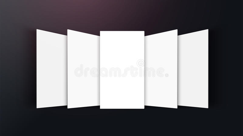 interfaz móvil del app de la maqueta 3D Vista delantera de la pantalla en blanco del app Relación de aspecto horizontal del 9:16  stock de ilustración
