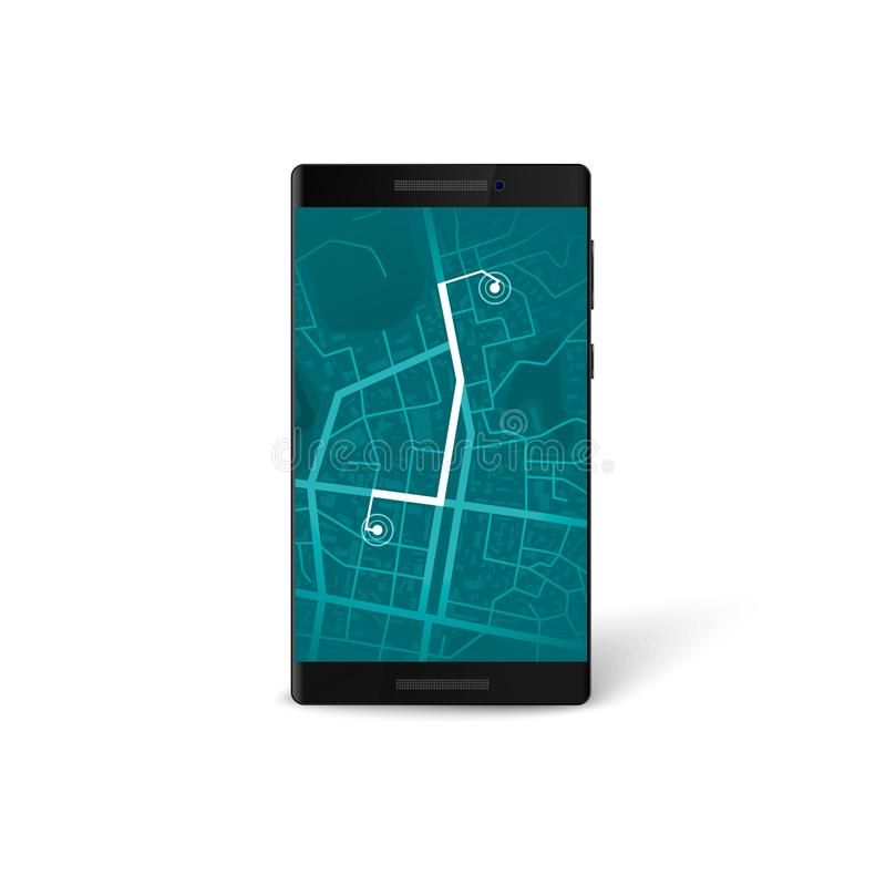 Interfaz móvil del app de la navegación mapa y concepto de la navegación de los gps Mapa de la ciudad en la pantalla del teléfono ilustración del vector