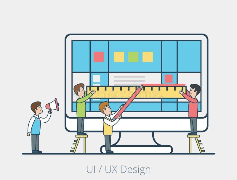 Interfaz plano linear del monitor del bloque del equipo de la gente libre illustration