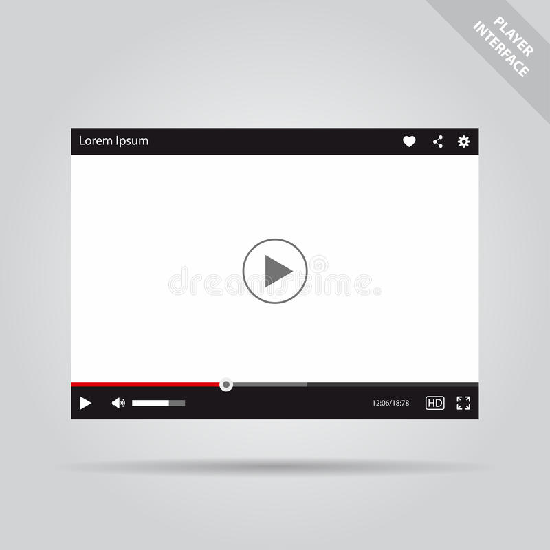 Interfaz plano moderno del vídeo ilustración del vector
