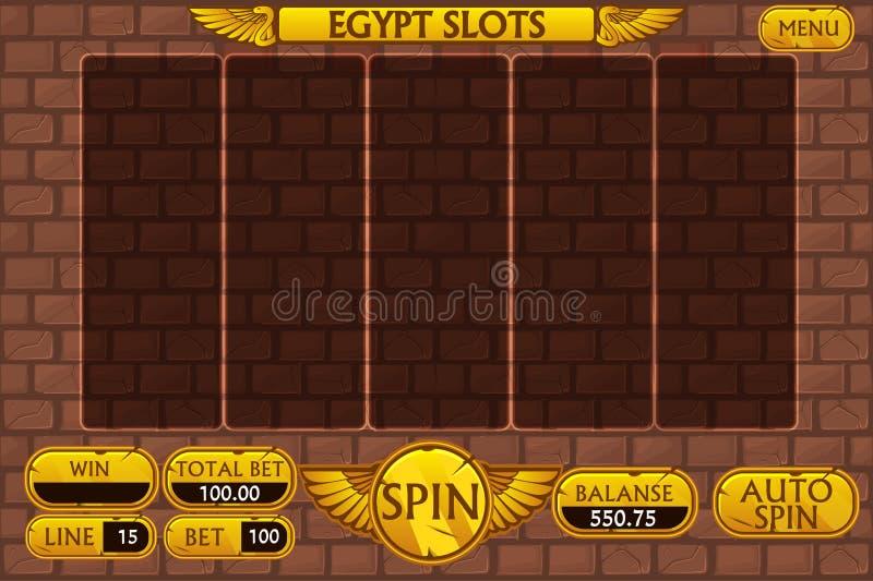 Interfaz principal y botones del fondo egipcio para el juego de la máquina tragaperras del casino stock de ilustración