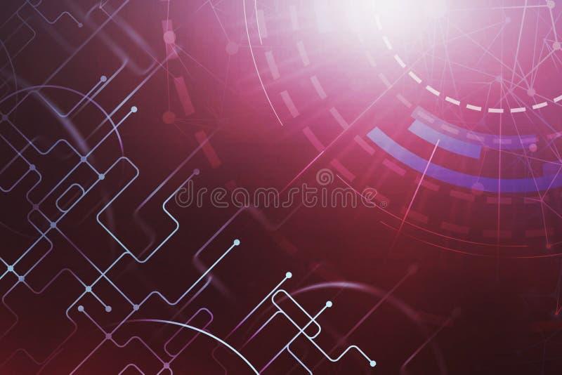 Interfaz rojo digital de HUD de la conexión del extracto libre illustration