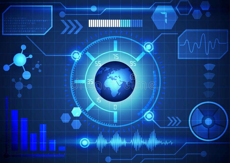 Interfaz virtual moderno del fondo de la tecnología, vector ilustración del vector
