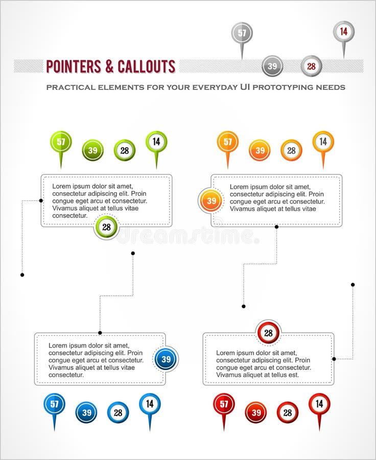 Interfejsów elementy ustawiający, mapy lokaci pointeru szpilka,  royalty ilustracja