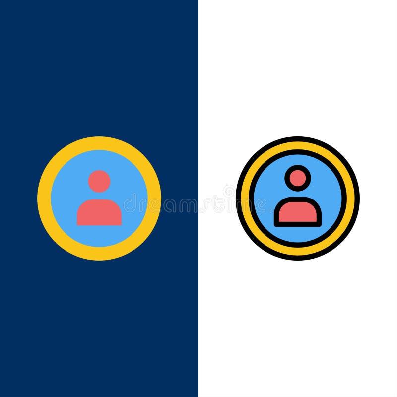 Interfejs, nawigacja, użytkownik ikony Mieszkanie i linia Wypełniający ikony Ustalony Wektorowy Błękitny tło royalty ilustracja