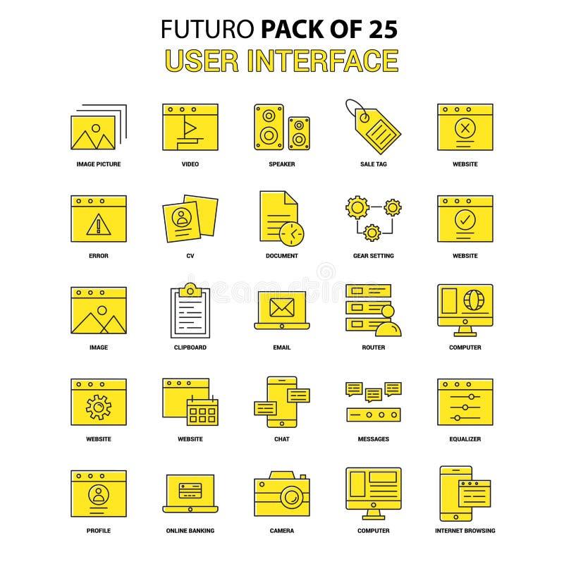 Interfejs użytkownika ikony set Żółta Futuro projekta ikony Opóźniona paczka ilustracja wektor