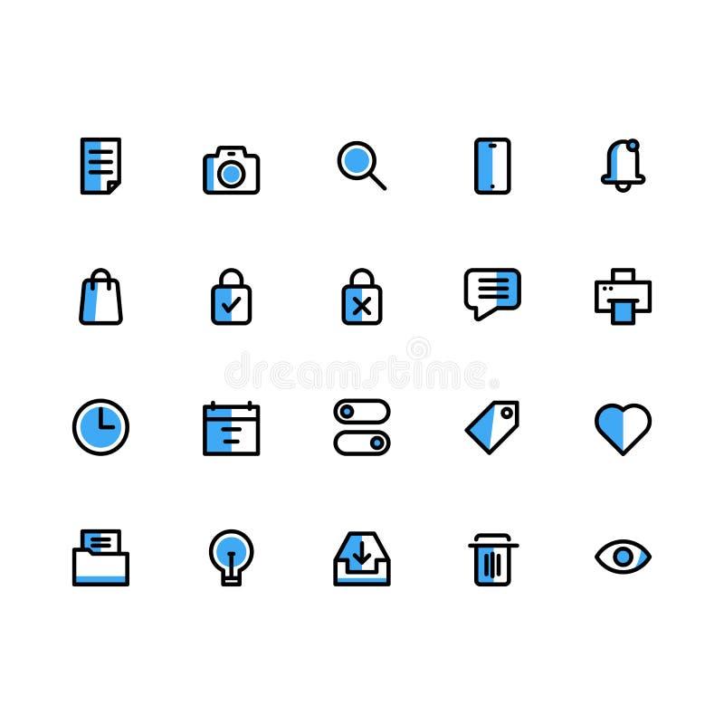 Interfejs Użytkownika ikony set Wypełniający Kreskowy wektor ilustracji