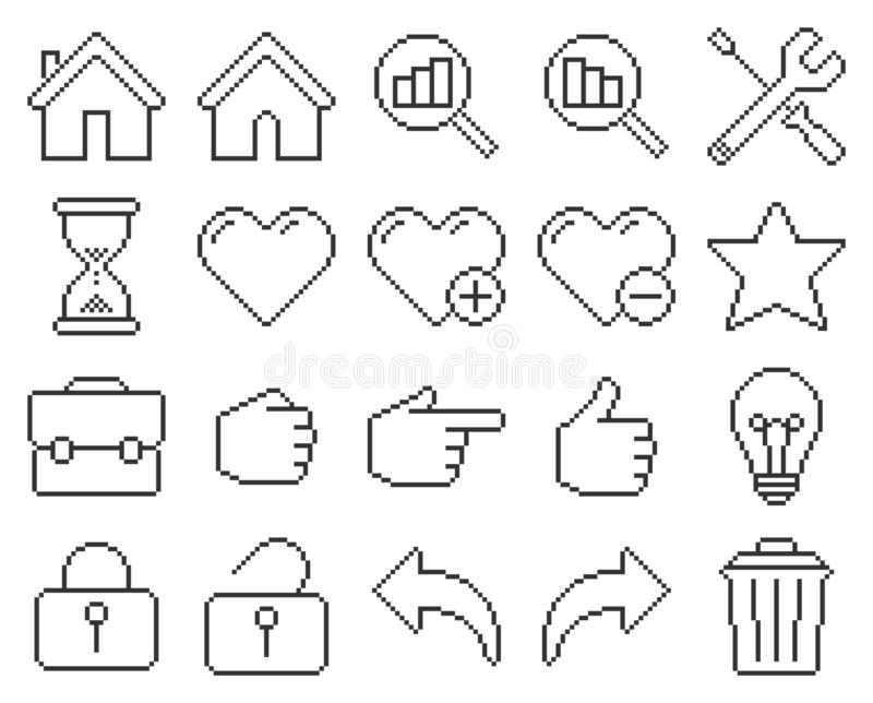 Interfejs użytkownika piksla kreskowe ikony ustawiać ilustracji