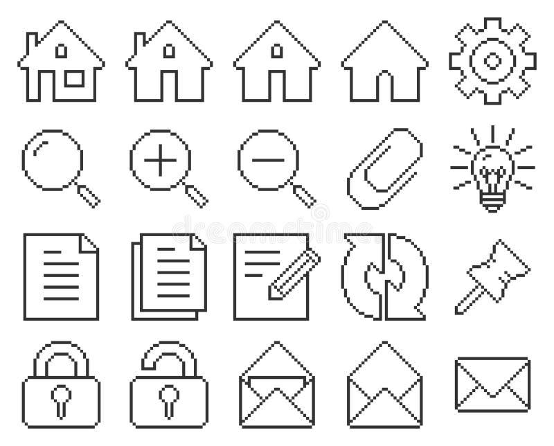 Interfejs użytkownika piksla kreskowe ikony ustawiać ilustracja wektor