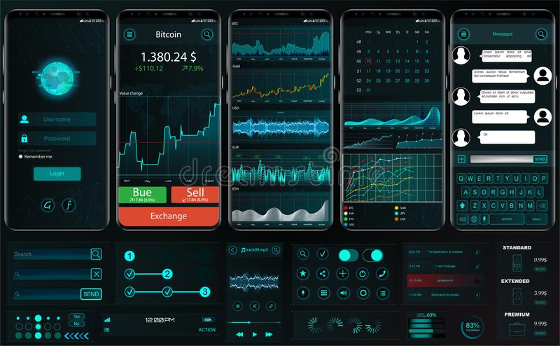 Interfejsu app szablon dla handlarskiej platformy UI UX ilustracji