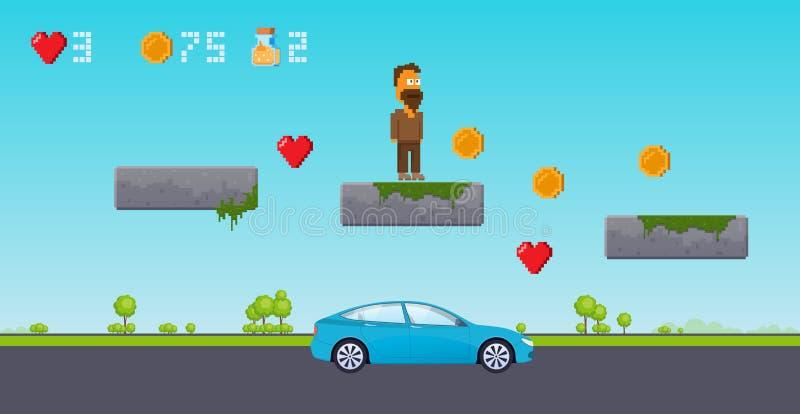 Interfejsu 8 kawałka gra, piksel sztuki platformer Poziom w miastowej ulicie ilustracji