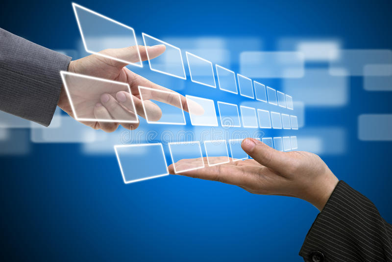 interfejsu parawanowy technologii dotyk wirtualny ilustracji
