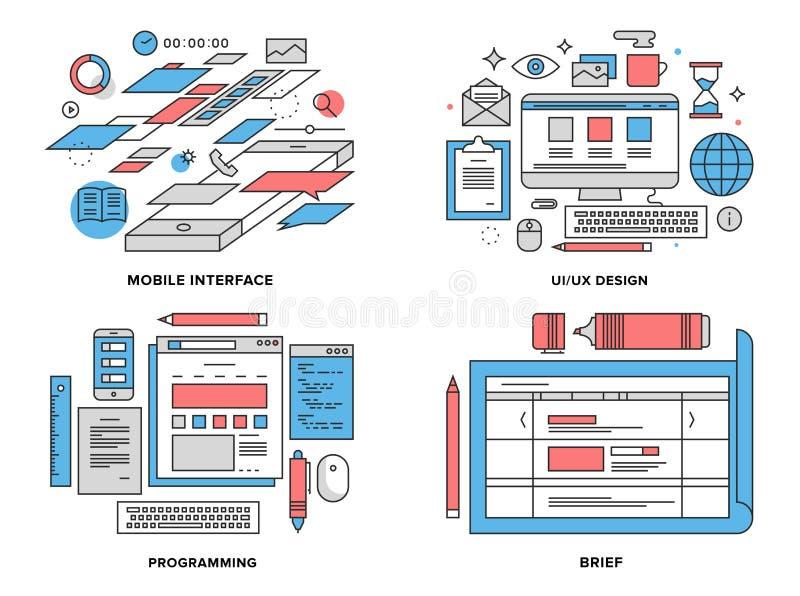 Interfejsu rozwoju płaska kreskowa ilustracja ilustracja wektor