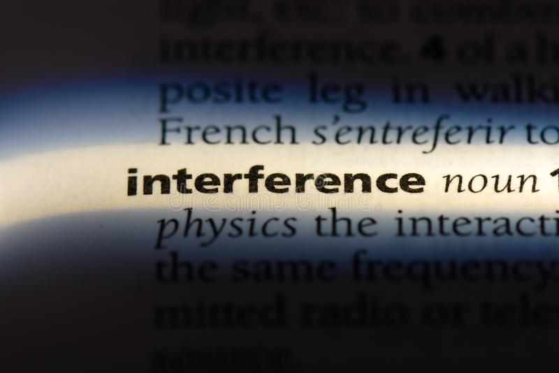 Interference. Word in a dictionary.  concept royalty free stock image