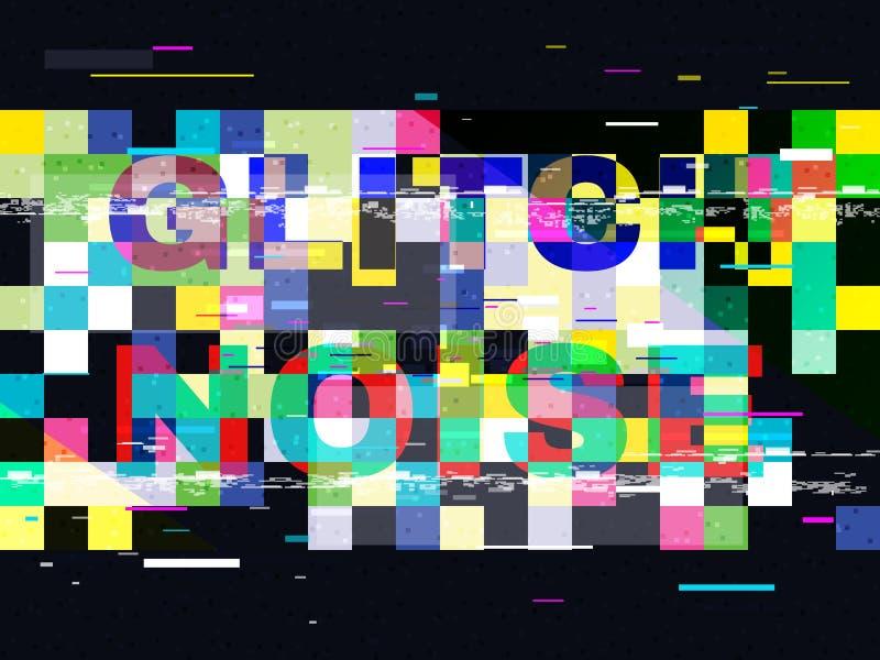Interferencia ninguna señal TV Pixeles abstractos del color en fondo negro Líneas ruido de Glitched Diseño del error de Digitaces ilustración del vector