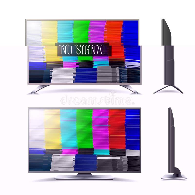 Interferencia torcida TV Digilal ninguna señal Interferencia Art Show Static Error Fondo abstracto del vector Introducción y el f stock de ilustración