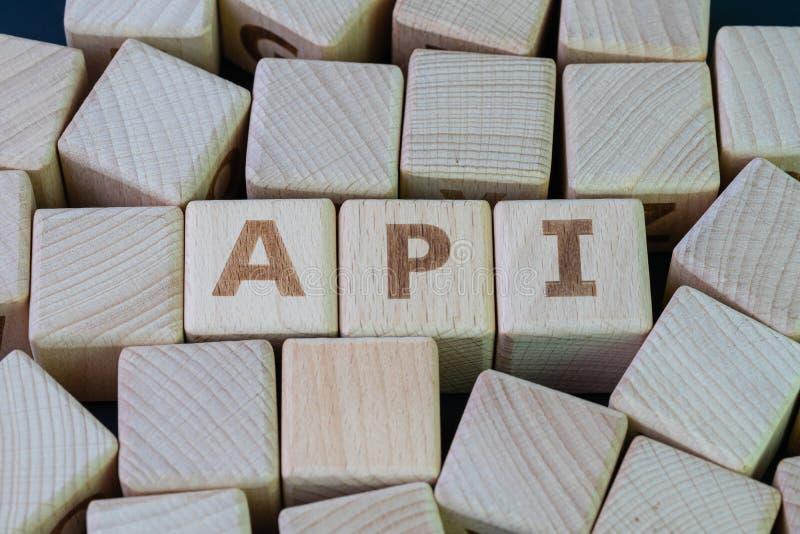 Intergiciel d'Interface de Programmation d'Application api pour que les applications communiquent avec un autre concept, bloc en  photos libres de droits