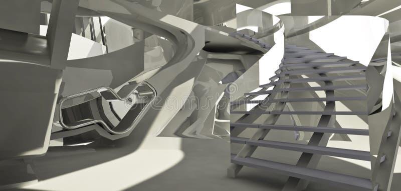 Interi futurista da arquitetura ilustração do vetor