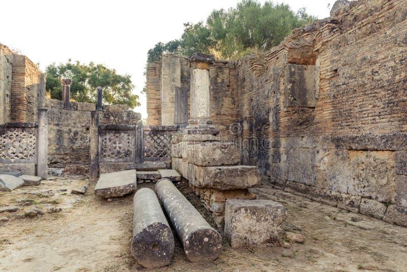 Interioir del gruppo di lavoro di Pheidias, Olimpia, Grecia immagini stock