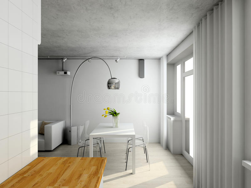 Interioir van moderne woonkamer royalty-vrije illustratie