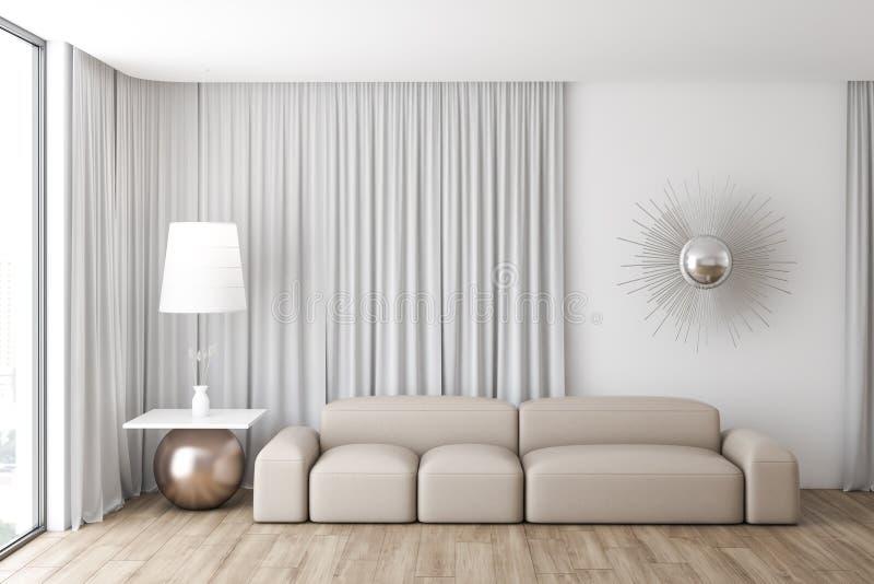 Interior à moda branco da sala de visitas ilustração royalty free