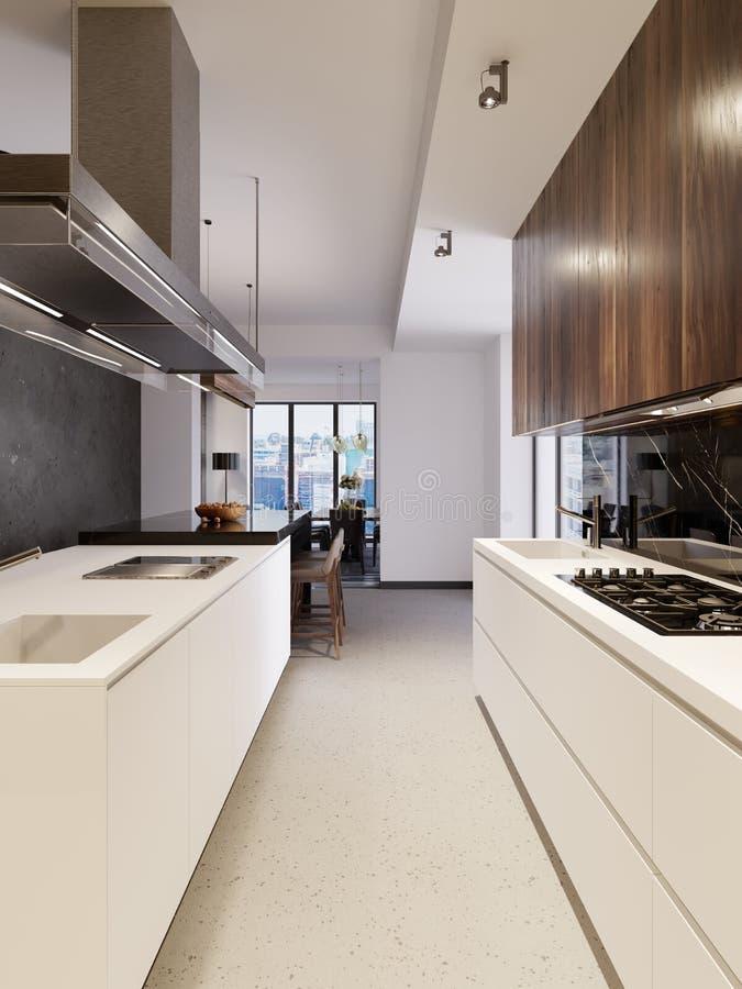 Interior à moda da cozinha com armários modernos e os dispositivos de aço inoxidável na casa nova projeto no estilo escandinavo ilustração do vetor