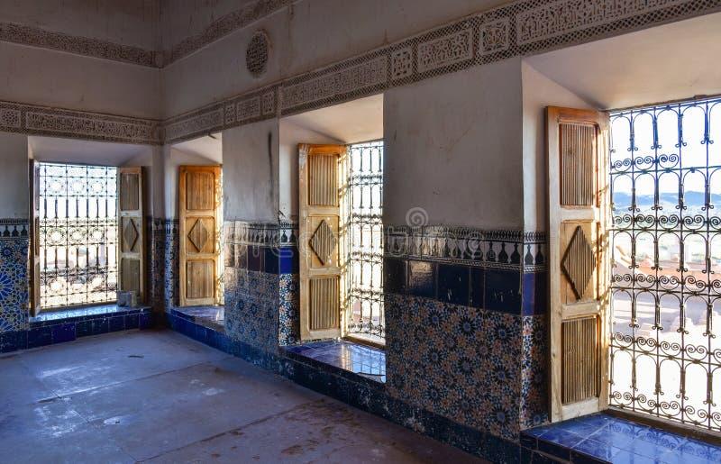 Interior árabe tradicional de Taourirt Kasbah fotografía de archivo libre de regalías