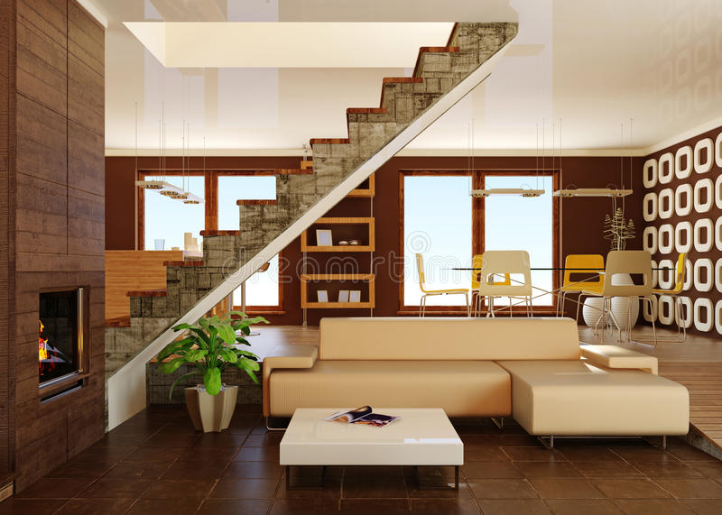 Interior. Brown interior room with fireplace royalty free stock image